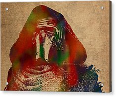 Kylo Ren Watercolor Portrait On Old Canvas Acrylic Print by Design Turnpike