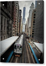 L Train Station In Chicago Acrylic Print by James Udall