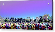 Acrylic Print featuring the photograph Los Angeles Glows In The Spheres Of Macarthur Park by Lorraine Devon Wilke