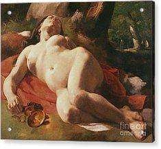La Bacchante Acrylic Print by Gustave Courbet
