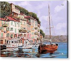 La Barca Rossa Alla Calata Acrylic Print by Guido Borelli