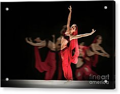 Acrylic Print featuring the photograph La Bayadere Ballerina In Red Tutu Ballet by Dimitar Hristov