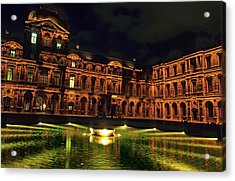 La Cour Carree And The Building Of The Louvre Illuminated At Night Acrylic Print by Sami Sarkis