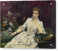 La Dame Avec Les Fleurs Acrylic Print by Louise Abbema