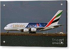 La Dodgers A380 Ready For Take-off At Sfo Acrylic Print