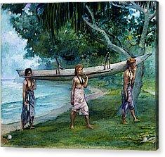 La Farge John Girls Carrying A Canoe Vaiala In Samoa Acrylic Print
