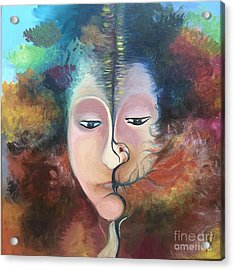 Acrylic Print featuring the painting La Fille Foret by Art Ina Pavelescu