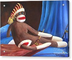 Acrylic Print featuring the painting La Grande Sock Monkey by Randol Burns