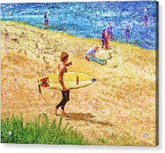 La Jolla Surfers Acrylic Print by Marilyn Sholin