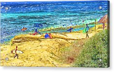 La Jolla Surfing Acrylic Print by Marilyn Sholin