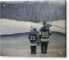 La Kings In Black And White Acrylic Print by Ron  Genest