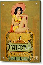 la Matadora Acrylic Print by Cinema Photography