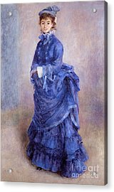 La Parisienne The Blue Lady  Acrylic Print by Pierre Auguste Renoir