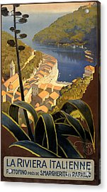 La Riviera Italienne Vintage Travel Poster Restored Acrylic Print by Carsten Reisinger