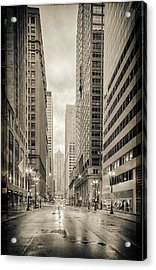 Lasalle Street Canyon With Chicago Board Of Trade Building At The South Side - Chicago Illinois Acrylic Print by Silvio Ligutti