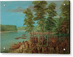 La Salle Taking Possession Of The Land At The Mouth Of The Arkansas Acrylic Print by Mountain Dreams