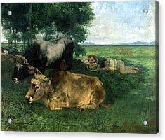La Siesta Pendant La Saison Des Foins Acrylic Print by Gustave Courbet