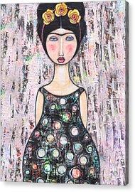 Acrylic Print featuring the mixed media La-tina by Natalie Briney