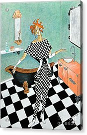 La Toilette -- Woman In Whimsical Art Deco Bathroom Acrylic Print