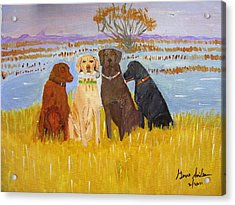 Acrylic Print featuring the painting Lab Dogs by Swabby Soileau