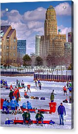 Acrylic Print featuring the photograph Labatts Pond Hockey by Don Nieman