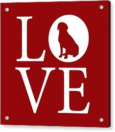 Acrylic Print featuring the digital art Labrador Love Red by Nancy Ingersoll