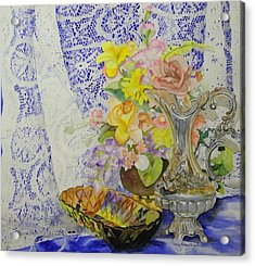 Lace And Flowers Acrylic Print by Terry Honstead