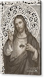Lace Card Depicting The Sacred Heart Of Jesus Acrylic Print by French School