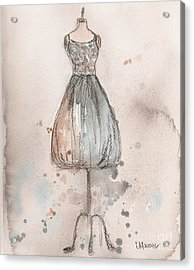 Lace Champagne Dress Acrylic Print by Lauren Maurer