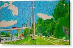 Lachine Canal Pencil Crayon Acrylic Print