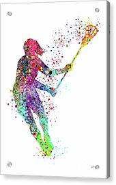 Lacrosse Girl Player Sports Art Print Watercolor Print Girl's Lacrosse Illustration Lacrosse Art Pos Acrylic Print by Svetla Tancheva