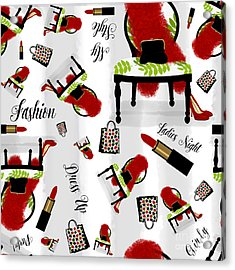 Ladies Night Out Fashion Pattern, Feather Boa, Lipstick, Shopping Acrylic Print