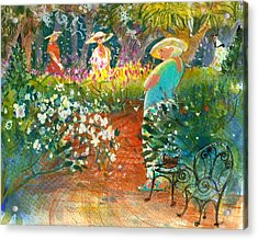 Acrylic Print featuring the painting Ladies Of The Garden by Gertrude Palmer