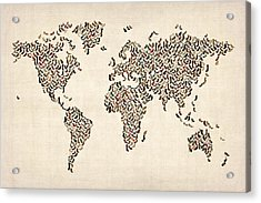 Ladies Shoes Map Of The World Map Acrylic Print by Michael Tompsett