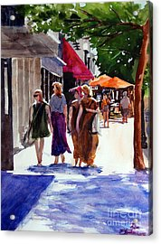 Ladies That Shop Acrylic Print by Ron Stephens