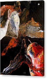 Lady And A Huge Red Pear Acrylic Print by Evguenia Men