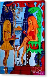 Acrylic Print featuring the painting Lady And Her Maid by Don Pedro De Gracia