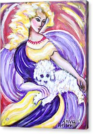 Acrylic Print featuring the painting Lady And Maltese by Anya Heller