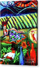 Acrylic Print featuring the painting Lady And The Grapes by Genevieve Esson