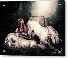 Lady And The Unicorns Acrylic Print by Shanina Conway