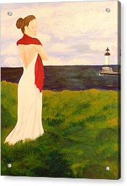 Lady At The Ocean Acrylic Print by Jennifer Hernandez