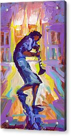 Lady Blue Plays Clarenet At The Saint Louis Cathedral Acrylic Print by Saundra Bolen Samuel
