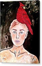 Lady Cardinal Acrylic Print by Amy Sorrell