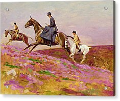 Lady Currie With Her Sons Bill And Hamish Hunting On Exmoor  Acrylic Print