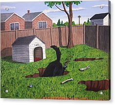 Lady Digs In The Backyard Acrylic Print