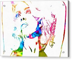 Lady Gaga Watercolor Acrylic Print by Dan Sproul