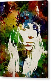 Lady Gaga Watercolor Acrylic Print by Mihaela Pater