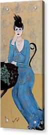 Lady In Blue Seated Acrylic Print