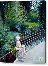 Lady In Central Park Acrylic Print by Elizabeth Robinette Tyndall