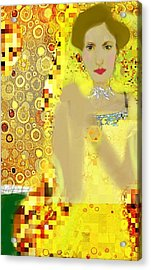 Lady In Gold Whimsy  Acrylic Print
